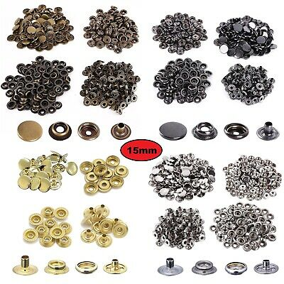 15mm Heavy Duty Brass Press Studs Snap Fasteners DIY Leather-crafts in 4 Colours
