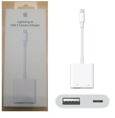 Apple Lightning to USB 3 Camera Adapter for iPhone 6 6s 7 7 Plus MK0W2AM/A NEW