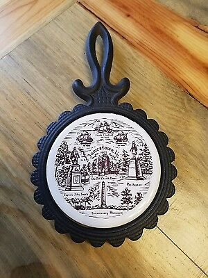 Vintage Cast Iron Trivet w Ceramic Jamestown tile  Pilkington England