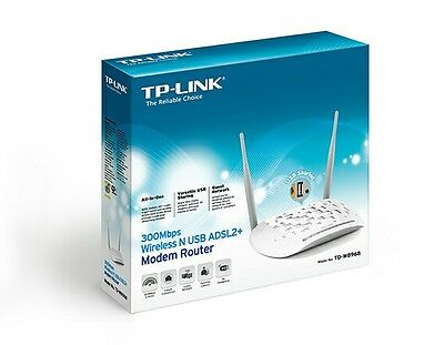 TP-LINK TD-W8968 Wireless ADSL Modem Router N300 4 Network Ports USB White
