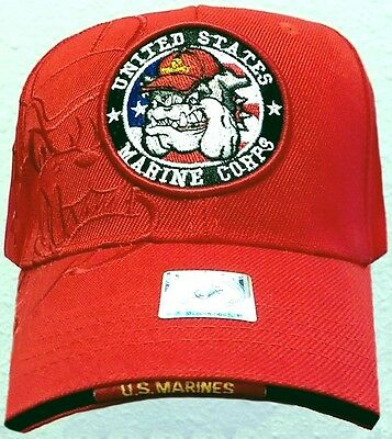 Licensed U.s. Marine Corps Usmc Devil Dog Hell Bulldog Mascot Logo Cap Hat Cover