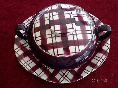 W S George Purple Plaid Platter and Covered Casserole