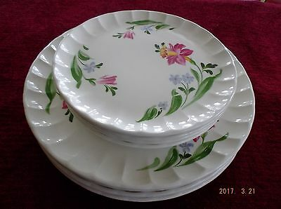 W.S. George 8pc Dinnerware Bolero Shape Pink/Yellow/Blue/Green
