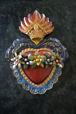 Milagro Sacred Flaming Heart With Torns Ex voto Nicho Retablo Style # 10