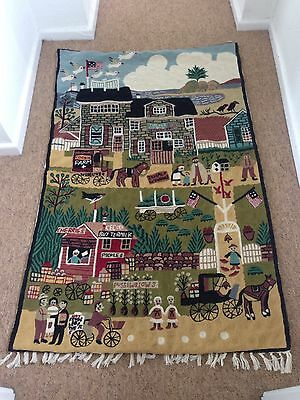 American Folk Art Large Tapestry Wall Hanging Textile Amish?