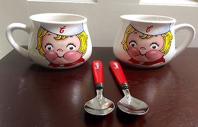 1998 Campbell's Kids Soup Mugs Houston Harvest Set Of 2 CUPS + 2 SPOONS EUC