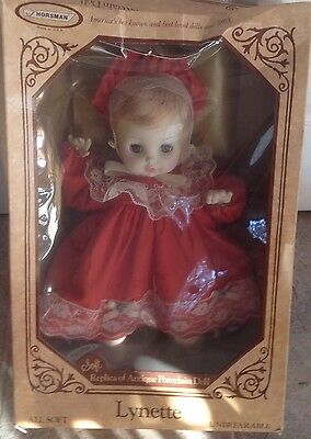 "1989 ""Lynette Doll By Horsman 16"" All soft Replica of Antique Porcelain Doll NIB"
