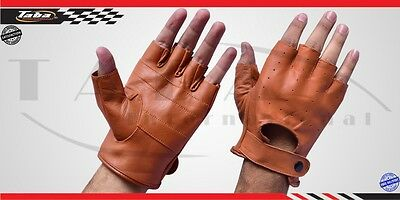 Men's Real Soft Leather Fashion Driving/Motorcycle/Biker Half-Finger Gloves Tan