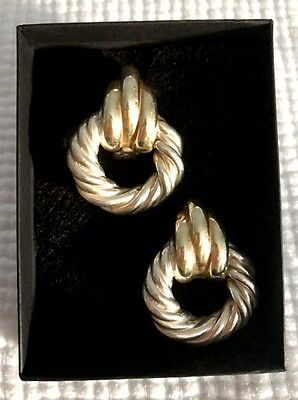 Vintage David Varsano 925 sterling silver 2tone clip on estate earrings gift box