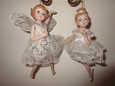 Christmas Ballerina and Angel ornaments set of 2