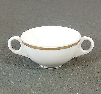 Shenango Restaurant Ware Double 2 Handle Bouillon Cream Soup Cup Bowl Gold Band