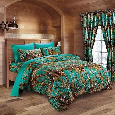 1 Pc Teal Camo Comforter Queen Camouflage Woods Comforter Only