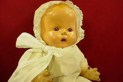 """ANTIQUE VINTAGE 1920s 18"""" COMPOSITION MAMA DOLL TIN EYES OPEN MOUTH & TEETH"""