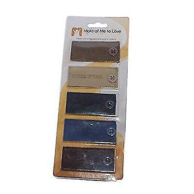 5-Pack Waistband Button Extender for Pants and Skirts - black, brown, taupe New
