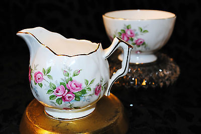 Aynsley England Bone China Grotto Rose 185 Set Sugar Bowl Creamer Roses Gold Rim