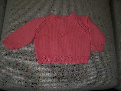 New Home Machine Knitted Baby Jumper Coral/ Light Orange 6 -9 Months App