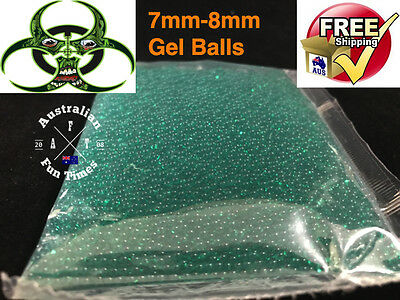 7 - 8mm GREEN ZOMBIES HARDENED Gel Ball Ammo Crystal Water Bead Gell Toy Blaster