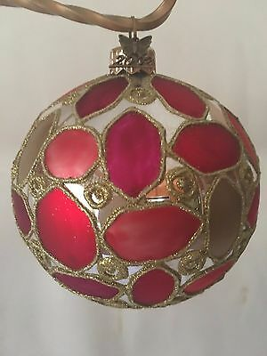 4 Department 56 Red Hand Blown Glass Christmas Ball Ornament Gold Silver Glitter