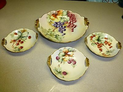 Antique Limoges 4 Piece Hand Painted Bowl Set, All signed by Same Artist
