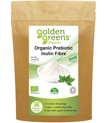 Golden Greens Organic Prebiotic Inulin Fibre 250g or 500g Gluten Free, Vegan