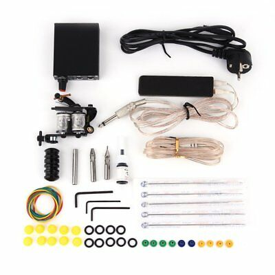 Complete Tattoo Kit Set Equipment Machine Needles Power Supply Gun Inks New QG
