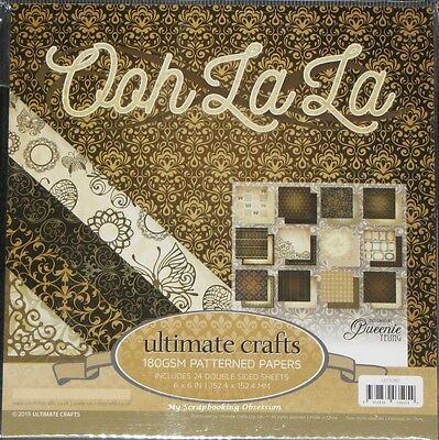 "Ultimate Crafts 'OOH LA LA' 6x6"" Paper Pk 24 Sheets Vintage Card Making/Craft"