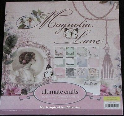 "Ultimate Crafts 'MAGNOLIA LANE' 12x12"" Paper Pk 24 Sheets Vintage Card Making"
