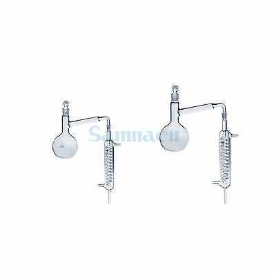 500/1000ml Lab Distilling Apparatus Round Flask with Coil Glass Condenser
