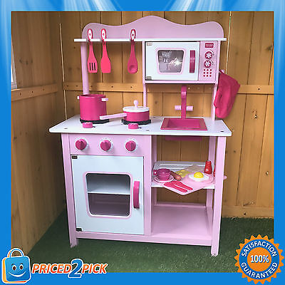 Wooden Kids Girls Pretend Play Pink Kitchen with Oven Pretend Food Cooking Toys
