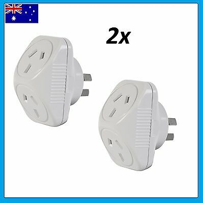 2x Arlec 2400W Power Double Adapter 240v 10amp  Adaptor x2