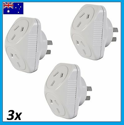 3x Arlec 2400W Power Double Adapter 240v 10amp  Adaptor x3