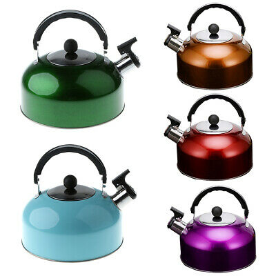 Whistling Tea Kettle Hot Water Pot for Camping Fishing Caravan Gas Electric
