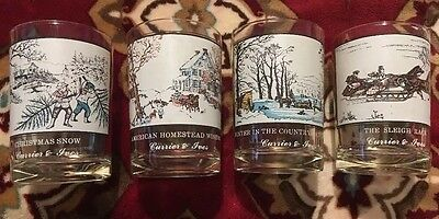Currier & Ives Arby's Winter Theme Glasses Set Of 4 Vintage Collectibles