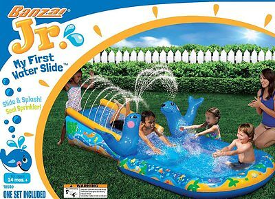 Banzai My First Water Slide Children Kids Toddler Inflatable Outdoor Backyard