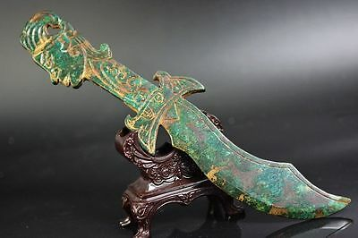 Collectible Chinese old green jade hand carved people head Weapon  A5