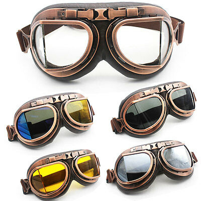 Retro Vintage Aviator Pilot Motorcycle Cruiser Scooter Biker Goggles For KTM BMW