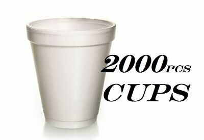 2000 Foam Cups Polystyrene Coffee Styrofoam Disposable Cup Insulated 8oz Tea NEW