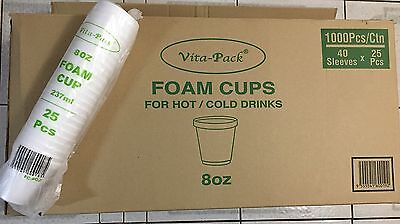 Foam Cups Polystyrene Coffee Styrofoam Disposable Cup Insulated Bulk 8oz Tea NEW