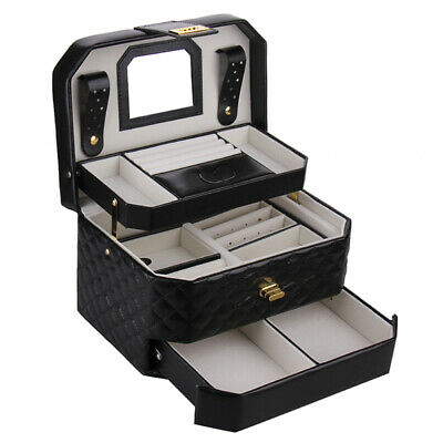 Large Jewellery Boxes Girls Rings Necklace Travel Case Storage Display Organiser