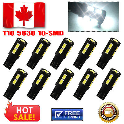 10X Xenon White T10 Side Wedge 5630 10SMD LED For RV Camper Boat Reverse Backup