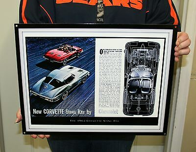 NEW CHEVROLET CORVETTE STING RAY 1963 (GMWALL 01) - Metal Sign - PhotoSTEEL