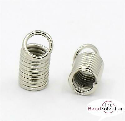 100 COIL CORD END CRIMP SPRING TIPS 8mm x 3mm SILVER PLATED ( AM2 )