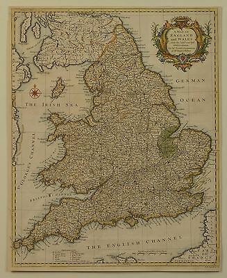 ORIGINAL Antique Map of England and Wales by R.W. Seale 1750s Britain UK London