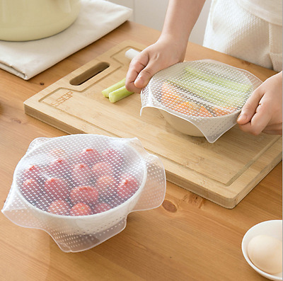 2PCS  Silicone Wraps Cover Keep Food Fresh Kitchen Home Covers Bowls Storage HK
