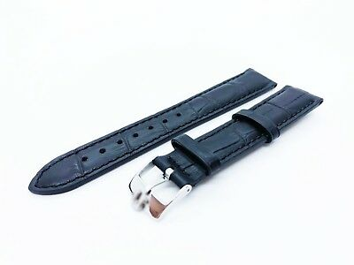 Black Genuine Leather Strap/Band fit OMEGA watch 18mm 19mm 20mm Buckle/Clasp