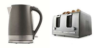 4 Slice Toaster 1.7L Kettle Charcoal Stainless Steel Kitchen Set