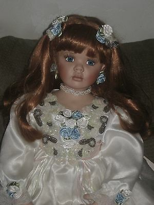 """Beautiful Red Hair Porcelain Rustie Donna Rubert Gorgeous Young Girl Doll 33"""" Lg"""