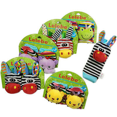 New 1Pcs Calm Baby KidS Cute Cotton Plush Animal Bell Socks Toy Clothes