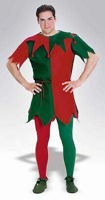 Christmas Holiday Elf Costume Tights Adult: Red & Green