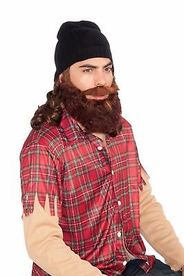 Duck Hunter Costume Beanie W/Attached Brown Wig & Beard Set Adult One Size